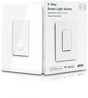 3 Way Smart Light Switch, WiFi Light 3-way Switch Neutral Wire Required, Schedule Setting APP Remote Control Compatible with Alexa, Google Assistant and IFTTT, ETL, No Hub Required, Kuled (1pack)