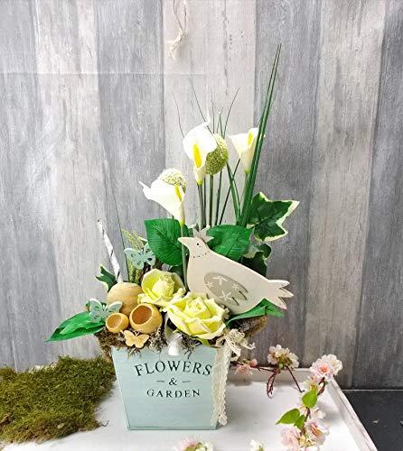 Tischgesteck, Gesteck mit Callas, Frühlingsgesteck, Tischdekoration