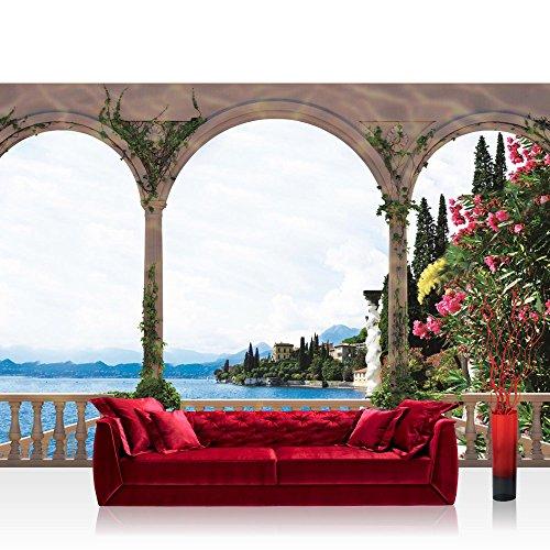 Fototapete 368x254 cm PREMIUM Wand Foto Tapete Wand Bild Papiertapete - Landschaft Tapete Terrasse Balkon Bogen Meer Häuser Bäume Meer Berge weiß - no. 1969