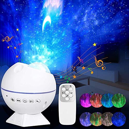 Proyector de luz para galaxia, proyector de luz de noche con control remoto y sensor de sonido para niños, decoración del dormitorio del...