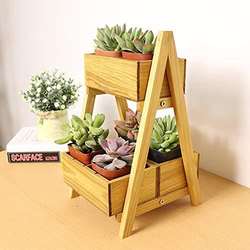 YINUO Support de rangement de bureau en bois Multi-petit support de fleur Support de fenêtre de bureau créatif Support de rangement de bureau Mini Taille: 19x21.5x33cm (Size : Wood color)