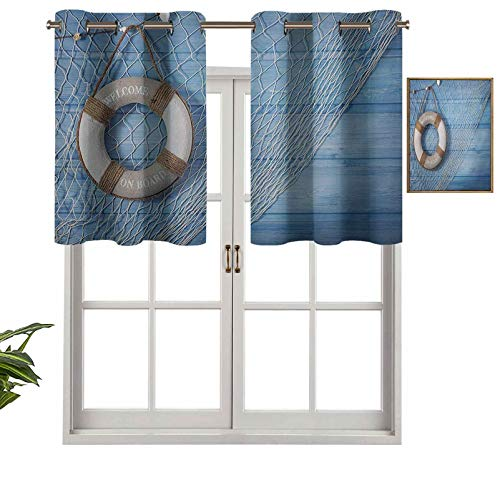 Hiiiman Grommet Blackout Curtains Short Curtains Valance Life Buoy on Shabby Blue Planks Nature Antique Look Tourism Theme, Set of 2, 42'x36' Kitchen Curtains for Living Room