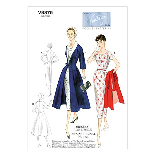 VOGUE PATTERNS V8875 - Patrones de Costura para Vestidos con cinturón y...