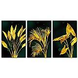 YALUO Nordic Green Golden Plantas Deja Imagen Fondo Poster Moderno Estilo Lienzo Impresión Pintura Art Aisle Sala de Estar Decoración del hogar (Color : 3Pcs Set, Size : 40x60cm No Frame)
