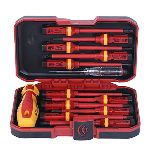 Juego de destornilladores de mano para electricistas de 13 piezas, kit de herramientas manuales de reparación de electricista aislado intercambiable de 1000 V con estuche de almacenamiento