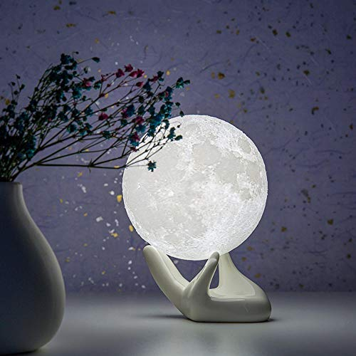 BRIGHTWORLD Moon Lamp, 3.5 inch 3D Printing Lunar Lamp Night Light with White Hand Stand as Kids Women Girls Boy Birthday Gift, USB Charging Touch Control Brightness Two Tone Warm Cool White