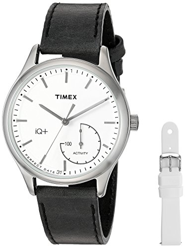 Timex Women's TWG013700 IQ+ Move Activity Tracker Black Leather Strap Smartwatch Set With Extra White Silicone Strap