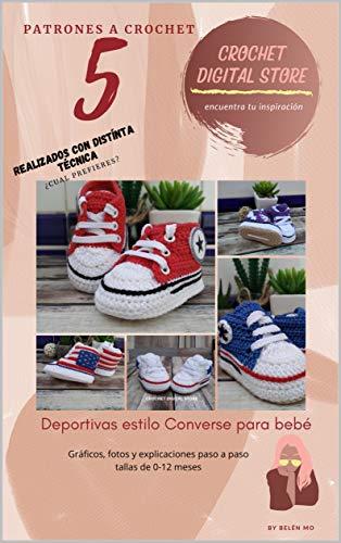 5 Patrones a Crochet: Las clásicas Converse para tu bebé (Zapatos de bebe a crochet)