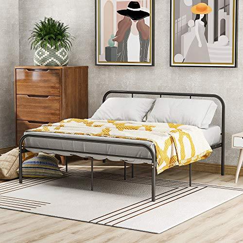 Merax Einzelbett Metallbettrahmen,Single Bett,für Erwachsene und Kinder Jugendliche, Schwarz (140 x 200)