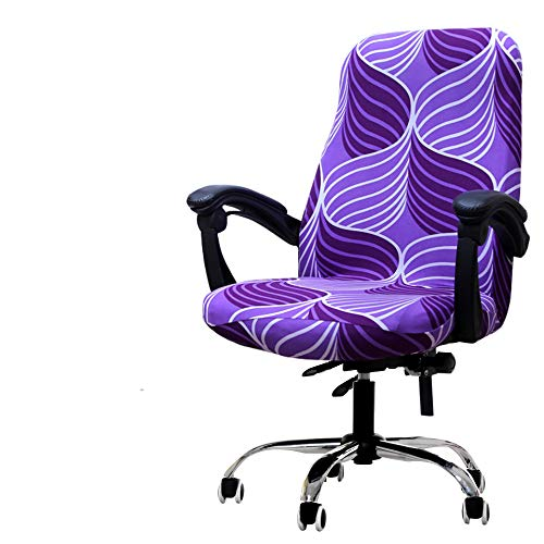 Deisy Dee Computer Office Chair Covers for Stretch Rotating Mid Back Chair Slipcovers Cover ONLY Chair Covers C162 (Purple line)
