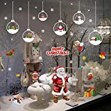 Tuopuda NoëL Autocollants Fenetre Décoration DéCalcomanie Boule de Noel Père Noël Flocon de Neige Autocollant Muraux DIY Amovibles Statique Stickers (Multicolore)