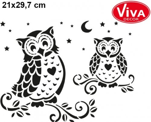 Viva Decor Eulen Universalschablone 21x29,7 cm