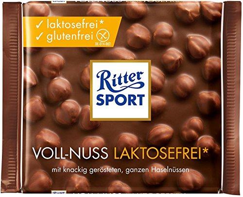 RITTER SPORT Voll-Nuss laktosefrei (10 x 100 g), Laktosefreie Vollmilchschokolade, mit knackigen Haselnüssen, glutenfrei und laktosefrei
