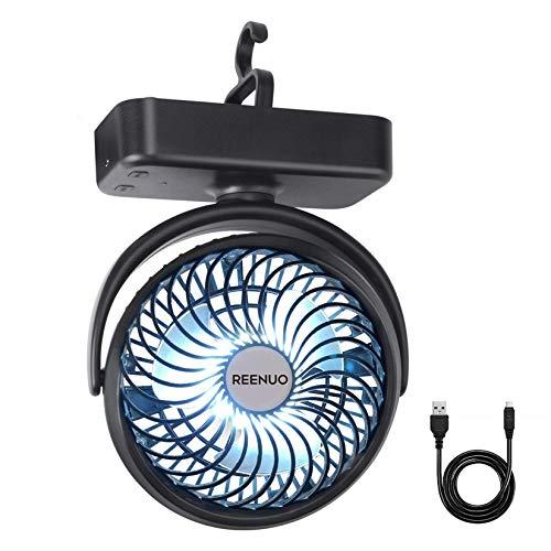 Ventilador de camping REENUO de 5000 mAh con luces LED, 40 horas de tiempo máximo de trabajo con gancho para colgar, ventilador de escritorio recargable para el hogar y la oficina
