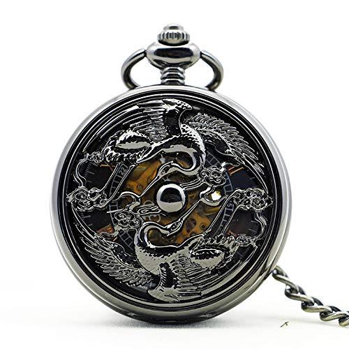 JYNBF Reloj de Bolsillo mecánico Antiguo Esfera Negra Hueca Cuerda Ma