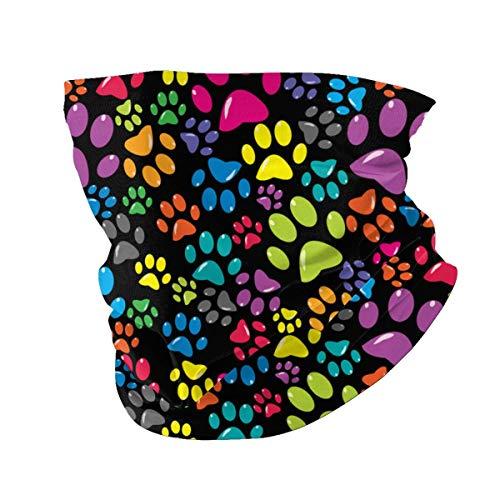 best pillow Bunter Hintergrund mit farbigen Pfoten. Bedrucktes Multifunktionstuch mit ausgefallenem Hochwertige Sturmhaube als Wärm- und Schutztuch - Halstuch, Face Shield, Gesichtsmaske