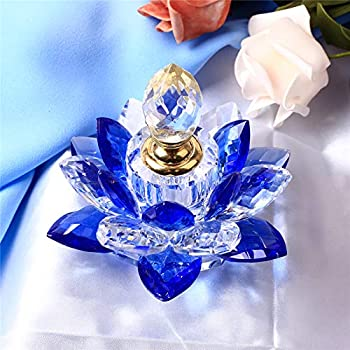 Blue Crystal Perfume Bottles Empty Lotus Flower Figurines Gifts for Women