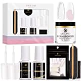 Dipping Powder Nail Starter Kit, Saviland Dip Powder System with Activator Nail File Acrylic Form Tips Quick Nail Extension Set, No UV/LED Nail Lamp Needed for French Manicure Nail Art