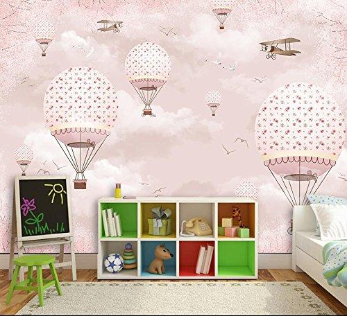 Yosot Papel pintado Personalizado 3D Habitación De Los Niños Pink Girl Corazón De Dibujos Animados Globo De Aire Caliente De La Pared Papel pintado Personalizado Gran Mural-200cmx140cm