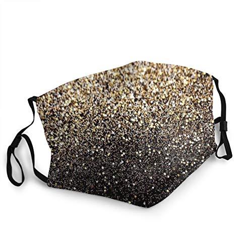 Anti-Staub-Mundschutz für Erwachsene Gold Glitzer Schwarz Golden Punkte Verstellbare Gesichtsabdeckungen für Frauen Männer