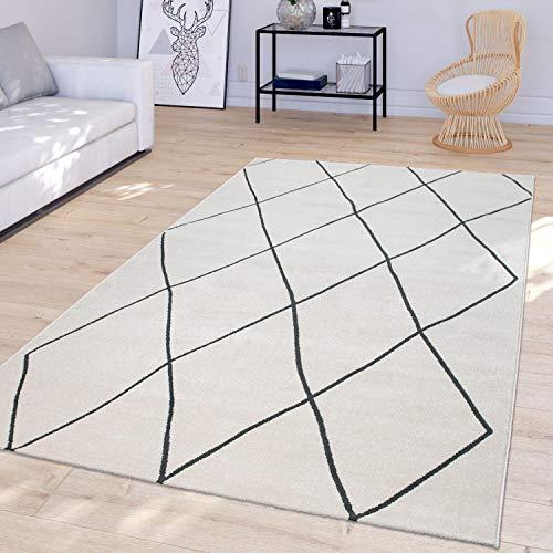 TT Home Alfombra Salón Diseño Rombos Escandinavos Moderna Pelo Corto Luminosa Blanco, Größe:160x230 cm