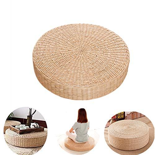 Fablcrew - Cojín de suelo redondo para puf de mimbre hecho a mano con paja tejida para yoga, decoración para salón de jardín, 40 x 6 cm