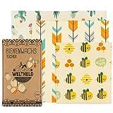Weltheld Bienenwachstücher | Bienenwachstuch Bienen | Beewax Wrap | Bio Wachspapier | plastikfrei | Ersatz für Frischhaltefolie (Biene)
