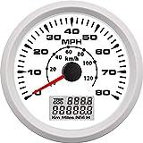 U/D Velocímetro 85MM 0-80MPH 0-130KM / H Medidor GPS Velocímetro cuentakilómetros Velocidad de la Motocicleta del Carro del Coche del Barco (Color : WW, Size : Gratis)