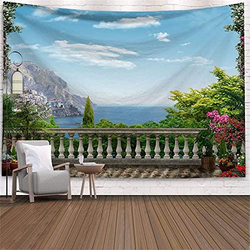 YYRAIN Sternenhimmel Landschaft Tapisserie Strand Wandbehang Meerblick Tapisserie Natur Sonnenuntergang Schlafzimmer Wohnzimmer Tapisserie Wandkunst 150x100cm E