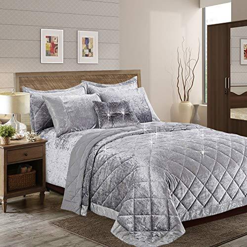 Aspire Homeware Tagesdecke Samt Bettüberwurf 3 Stück Steppdecke Schlafzimmer Deko Hochwertiger Bettwäsche Set + 2 Kissenbezüge (Santiago Grau, Doppelt (250 x 250 cm))