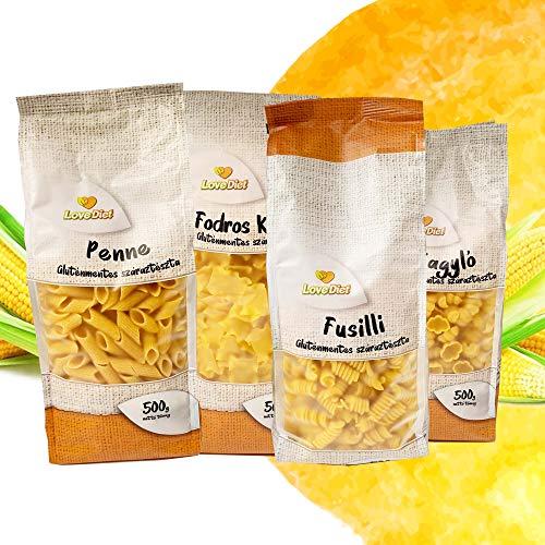 LoveDiet Maisnudeln | Glutenfrei | Vegan | 100% Mais Pasta | Glutenfreie nudeln aus Maismehl | Gluten Free | Ohne Zusätze | Alternative für Nudeln aus Maismehl | 4erPack 1 (4x500g)