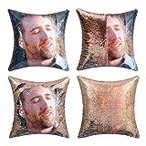 cygnus Nicolas Cage Sequin Pillow Cover Magic Mermaid Reversible Pillowcase That Color Changes Home Decor Throw Pillow Case Sofa Cushion Cover (Gold Sequin)