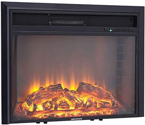KANGSHENG Wandmontage Fire Electric Fireplace Suite mit Fernbedienung Resin Log Fuel Flame Effect Fake Brick Wandgestaltung Dekor Insert Kamin schwarz (651x170x542mm)