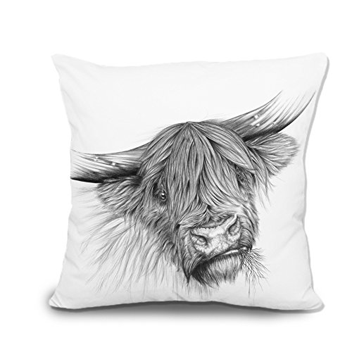 portrait of a highland cow canvas throw pillow covers decorative pillowcase cushion covers 18 x 18