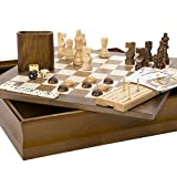 Hey! Play! 7-in-1 Classic Wooden Board Game Set  Old Fashioned Family Game Night Cards, Dice, Chess, Checkers, Backgammon, Dominoes and Cribbage