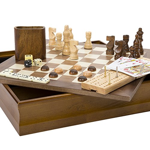 Hey! Play! 7-in-1 Classic Wooden Board Game Set – Old Fashioned Family...