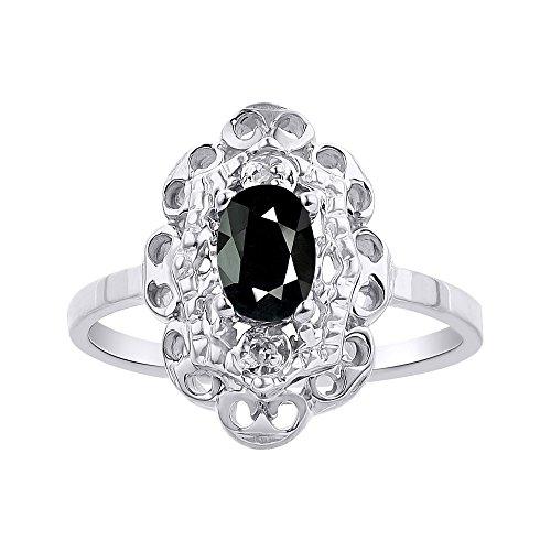 Juego de anillos de diamante y ónix en oro blanco de 14 quilates con halo de diamante