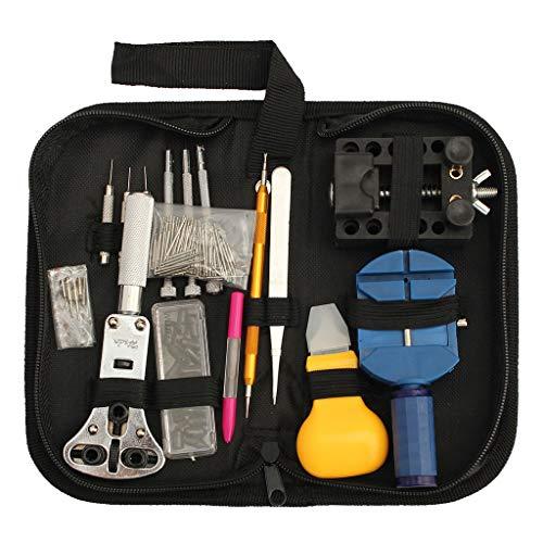 Viesky 144 piezas de herramientas relojeras juego de abridor de caja trasera de reloj, kit de destornilladores de reparación