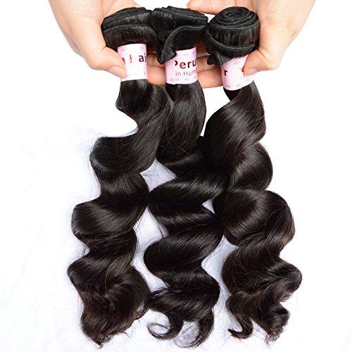 NOBLE QUEEN Hair Lot de 3 extensions de cheveux péruviens non traités ondulés 10 A - Cheveux humains vierges - 25,4 cm à 76,2 cm - Trame de tissage noir (55,9 cm à 61 cm)