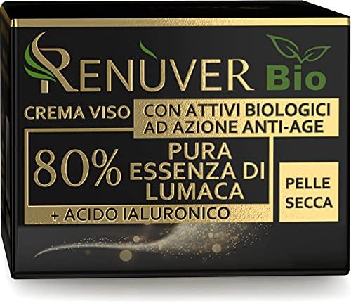 Crema viso Antirughe Donna 80% Bava di Lumaca PURA 100% BIO Specifica per Pelli Secche Idratante e Nutriente con Acido Ialuronico Collagene vit. E Certificata MADE IN ITALY (50ml)