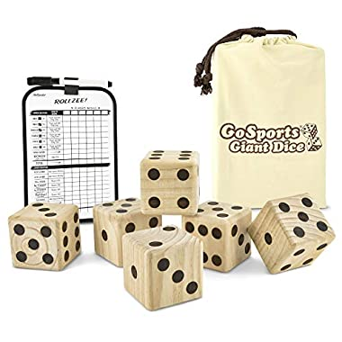 GoSports Giant Wooden Playing Dice Set with Bonus Rollzee and Farkle Scoreboard - Includes 6 Dice, Dry-Erase Scoreboard and Canvas Carrying Bag (Choose 2.5  Dice or 3.5  Dice)