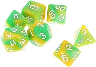 Blesiya 7pcs Multi Sided Dice D4 D6 D8 D10 D12 D20 Dungeons D&D TRPG Warhammer #5