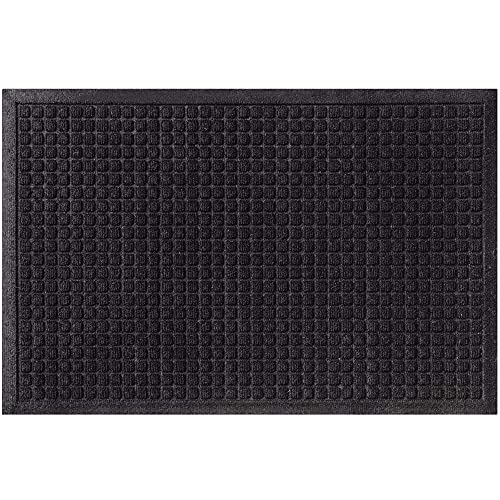 Gorilla Grip All Weather Quick Dry Absorbent Doormat, Absorbs Up to 1.7 Cups of Water, Captures Dirt, Stain and Fade Resistant, Durable Backing, Indoor and Outdoor Mats, Boot Scraper, 29x17, Black
