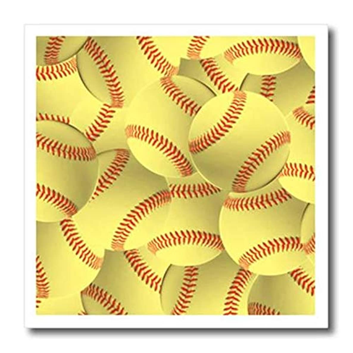 3dRose Softball Pattern-Yellow red Stitched Soft Ball Sporty-Sporting Game-Team Jock-Iron On Heat Transfer, 10-inch, for White Material (ht_161324_3)