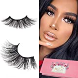 BEEOS False Eyelashes, 3D Mink Eyelashes 25mm Dramatic Long Type 100% Siberian Mink Fur Eyelashes Natural Layered Effect Reusable Make Up Real Fake Eyelashes 1 Pair/BV32