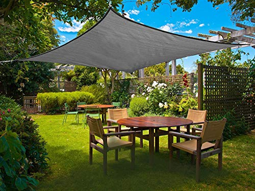 Sunnylaxx Sun Shade Sail 2x2m Square, Anti-UV Awning Canopy for Outdoor Patio Garden, Graphite