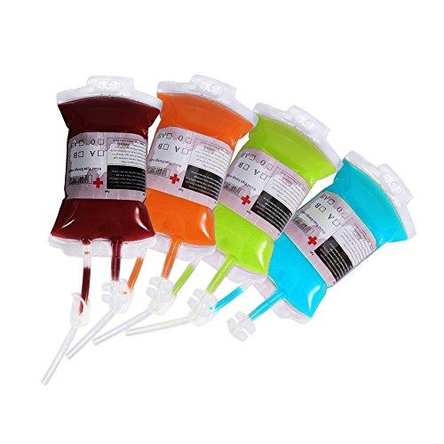 Bolsa de Sangre Reutilizable para Bebidas Bolsa de Infusión Especial Halloween Botella de Sangre Contenedor para Vestuario de Decoración 380ml 25pcs