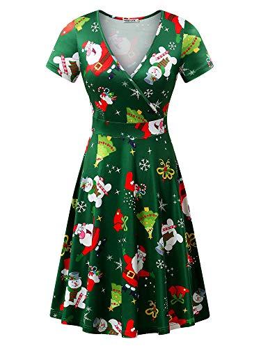 MSBASIC Christmas Tree Dress, Short Sleeve Skater Ugly Party Dress Santa&Snowman XL