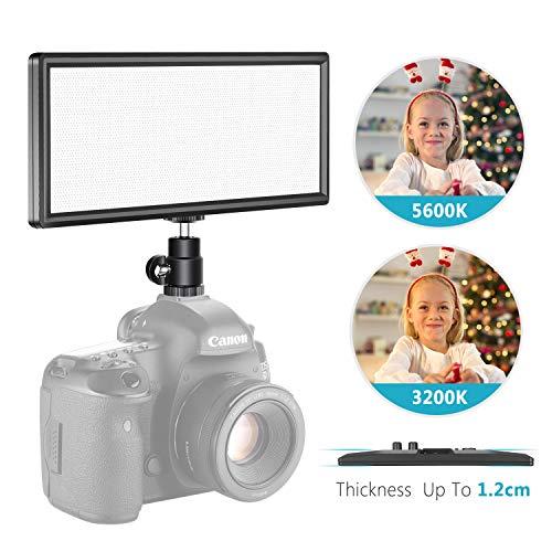 Neewer T120 - Panel de luz LED súper Delgado Bicolor - Pantalla LCD - Regulable - Luz LED de bajo Consumo Ultra Alta para vídeo en Estudio fotográfico (batería no incluida)