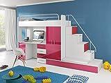 Möebel für Dich Hochbett TOMI - Schreibtisch, Schrank, Treppe und Gästebett mit Hochglanz-Fronten in weiß/schwarz/rosa/grau/lila/blau (rosa)